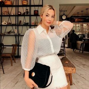 NWOT zara polka dot organza top - blogger's fav…